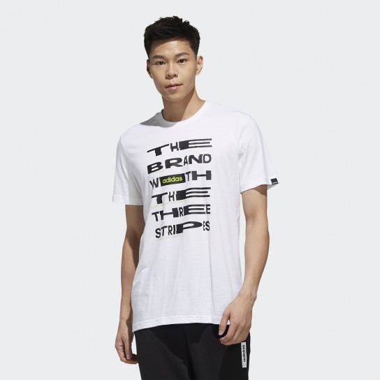 T-shirt Adidas Mens Distorted Font - Branco