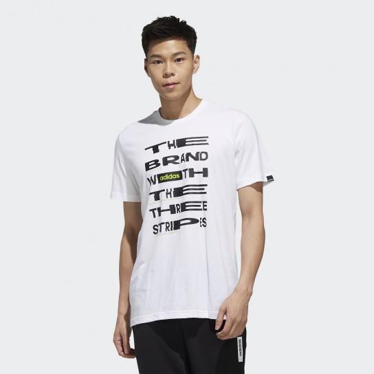T-shirt Adidas Mens Distorted Font - Branco
