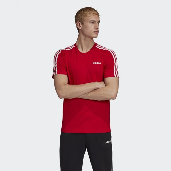 T-shirt Adidas Essentials 3 Stripes - Vermelha