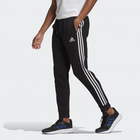 Calça Adidas Fleece Essentials 3 Stripes - Preto