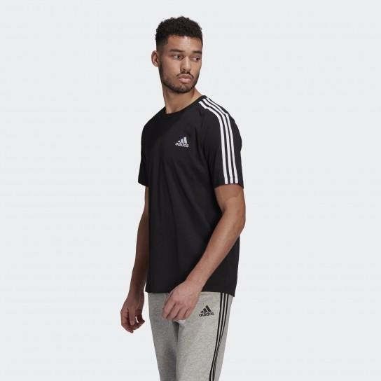 T-shirt Adidas Essentials 3 Stripes - Preto