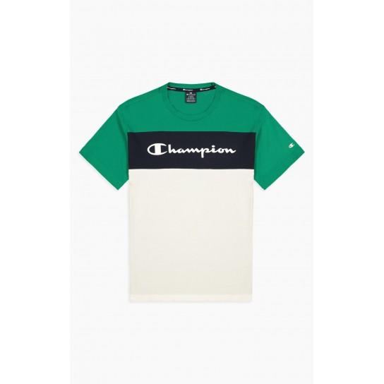T-shirt Champion Colour Block Scrip Logo - Verde
